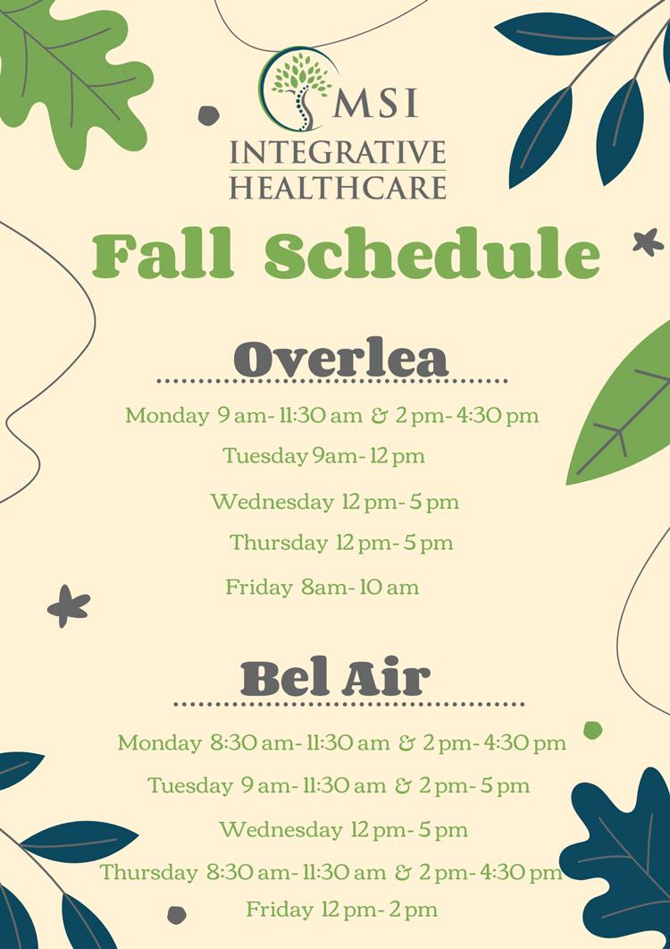 Chiropractic Overlea MD Fall Schedule